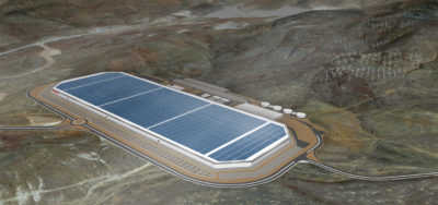 Artist's rendition of Tesla gigafactory.