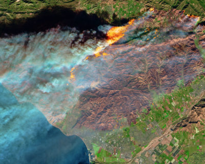 The Thomas Fire in Ventura County, California as seen from space on December 5.