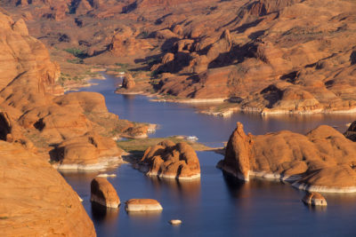 Lake Powell in Utah stores water from the Upper Colorado Basin for delivery to Lake Mead, the key reservoir on the Colorado. In the last water year, storage in Lake Powell has fallen by 1.54 million acre-feet, and the lake is only 39 percent full.