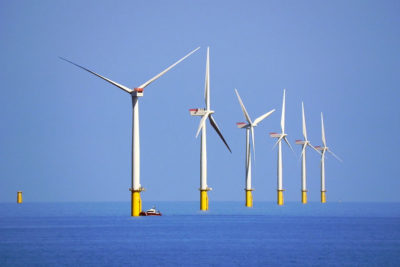 The Walney Offshore Wind Farm, located 9 miles west of Walney Island in the Irish Sea, England.