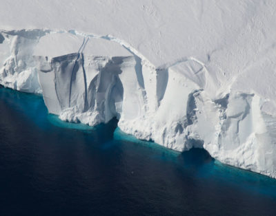 An iceberg in the process of calving off the Getz Ice Shelf, West Antarctica in 2016.