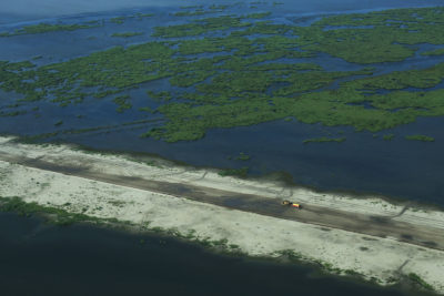 A marsh creation project near wetlands in Plaquemines Parish, Louisiana.