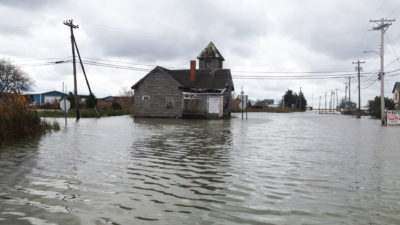 Flooding on Money Island in December 2018. Several of these houses were torn down as part of Blue Acres Program just months later.