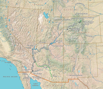 The Colorado flows 1,450 miles from its source in Colorado to the southwest, ending just short of the Gulf of California.