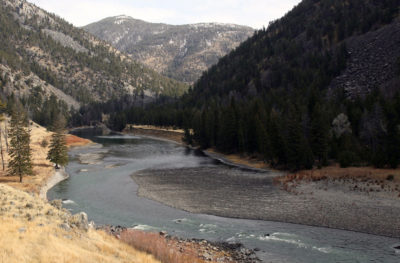 A view of the Yellowstone's gravel bed where the river cuts through Black Canyon.