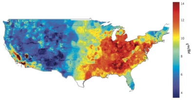 Average concentrations of fine particulate matterin the continental United States, 2000 through 2012.
