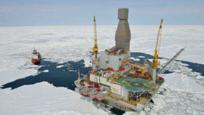 Exxon Mobil's Orlan platform in the Arctic Ocean. The future of oil drilling in U.S. Arctic waters is expected to come before federal courts.
