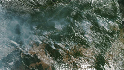 Wildfires in the Brazilian Amazon, as seen from space, on August 13.