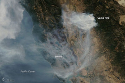 A satellite view of smoke from the Camp Fire, taken on November 12, 2018.