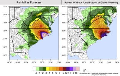Projected rainfall totals for Hurricane Florence vs. what the storm would have dropped without global warming.