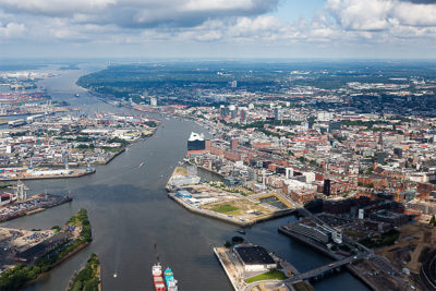 Hamburg is Europe's second largest port and sits in an inland delta of the Elbe River, which flows into the North Sea.
