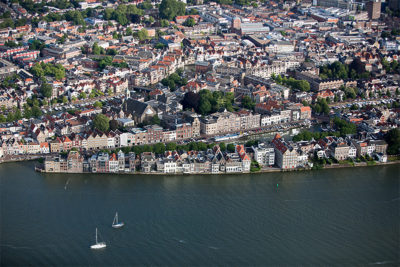 The vulnerability of Dordrecht, the Netherlands, is seen in this photo. The city is protected by the Maeslant Barrier, but could be threatened in the future by rising sea levels.