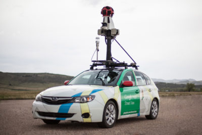 A Google Street View car equipped with a mobile methane analyzer to track natural gas leaks on city streets.