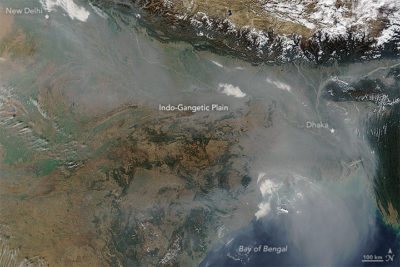 A thick river of haze over the Indo-Gangetic Plain in January 2016, the result of a combination of urban and industrial pollution, agricultural and cooking fires, and a meteorological phenomenon known as a temperature inversion.