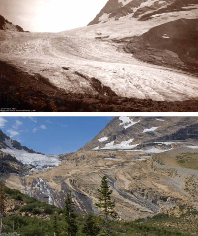 Of the 150 glaciers that existed in Glacier National Park in the late 19th century, just 25 remain, including the Jackson Glacier, seen here in 1911 (top) and 2009 (bottom).