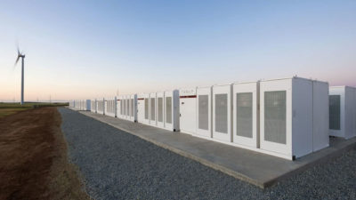 The Hornsdale Power Reserve, a 100-megawatt battery storage facility in South Australia.