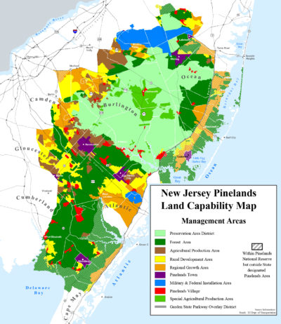 A map of development and land use within and around the Pinelands National Reserve.