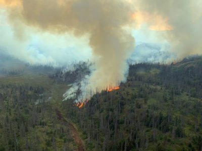The Caribou Lake Fire in Alaska on August 20.