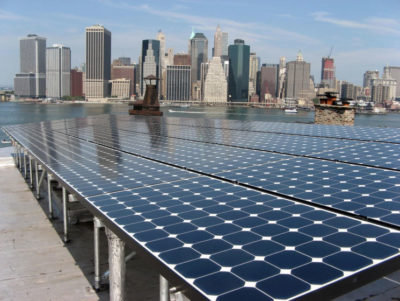 A rooftop solar system in Brooklyn installed with support from the U.S. Department of Energy and New York City.