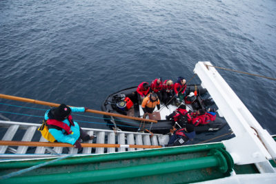 Evacuation was done with Zodiacs on August 25, a rescue option that would not have been possible had there been high winds and ice near the ship.