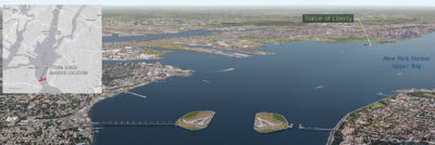 A rendering of a proposed surge barrier near the Verrazano Narrows Bridge, between Staten Island and Brooklyn.