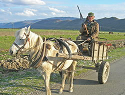 Bird poacher in Albania