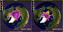 Minimum summer sea ice Arctic 1979 2011