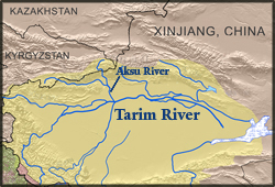 Map of Tarim River Basin China